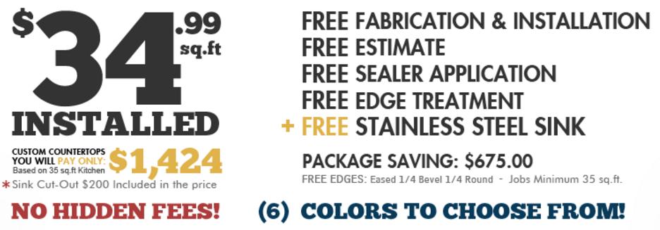 $34.99 per sqft Granite Countertops | Aqua Kitchen & Bath Design Center