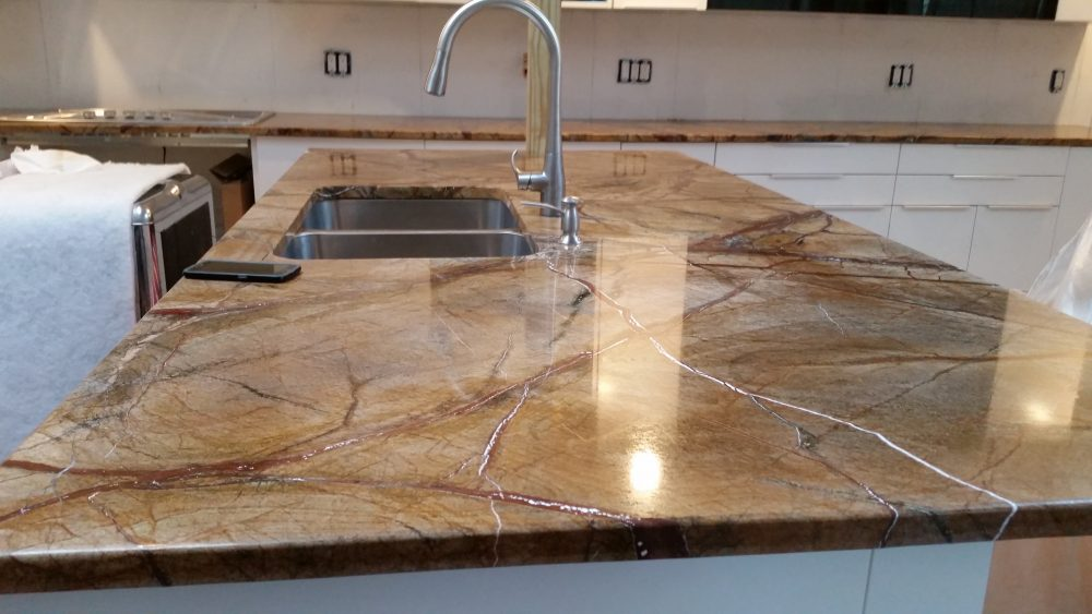 Rainforest Brown Granite Countertop Installation in Englewood, NJ
