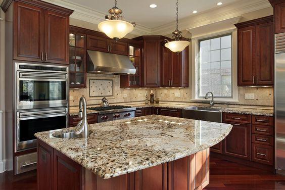 Santa Cecilia Gold Granite Countertop Installation In