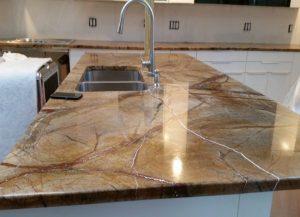 Kitchen Cabinets and Kitchen Countertops Rainforest Brown Countertop Installation