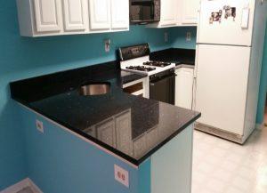 Kitchen cabinets and kitchen countertops Lincoln Park NJ Shining Blue Quartz Installation