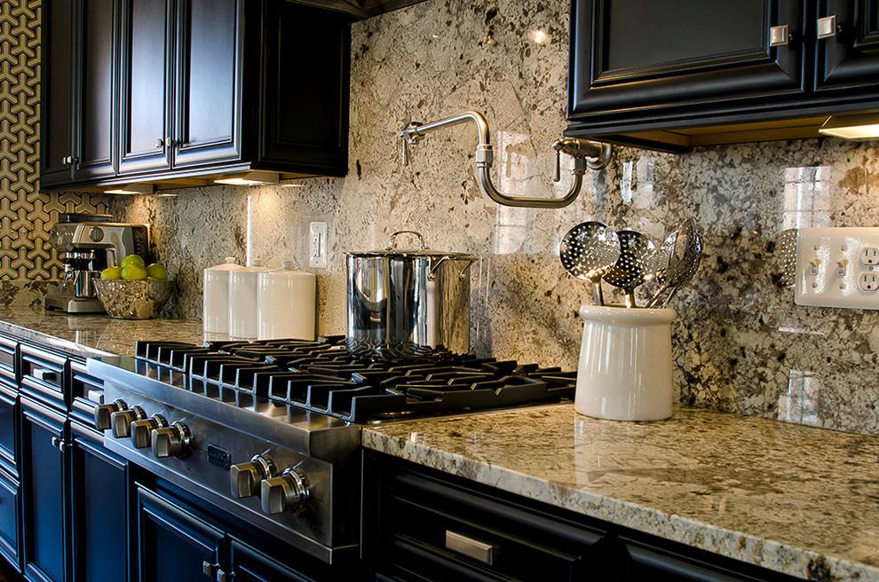 Delicatus White Granite with Dark Kitchen Cabinets