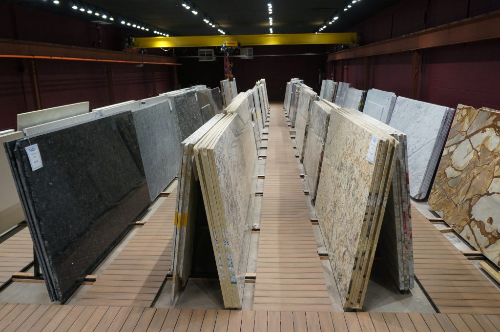 Comfortable, spacious, well-lit Granite, Quartz, Quartzite Showroom for Wayne Kitchens and Baths