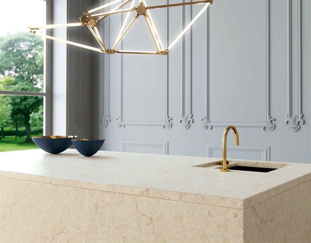 Marble Looking Quartz by Caesarstone: Taj Royal Quartz Kitchen Design