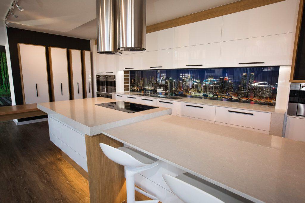 Cosmopolitan White Marble Looking Quartz Kitchen Design
