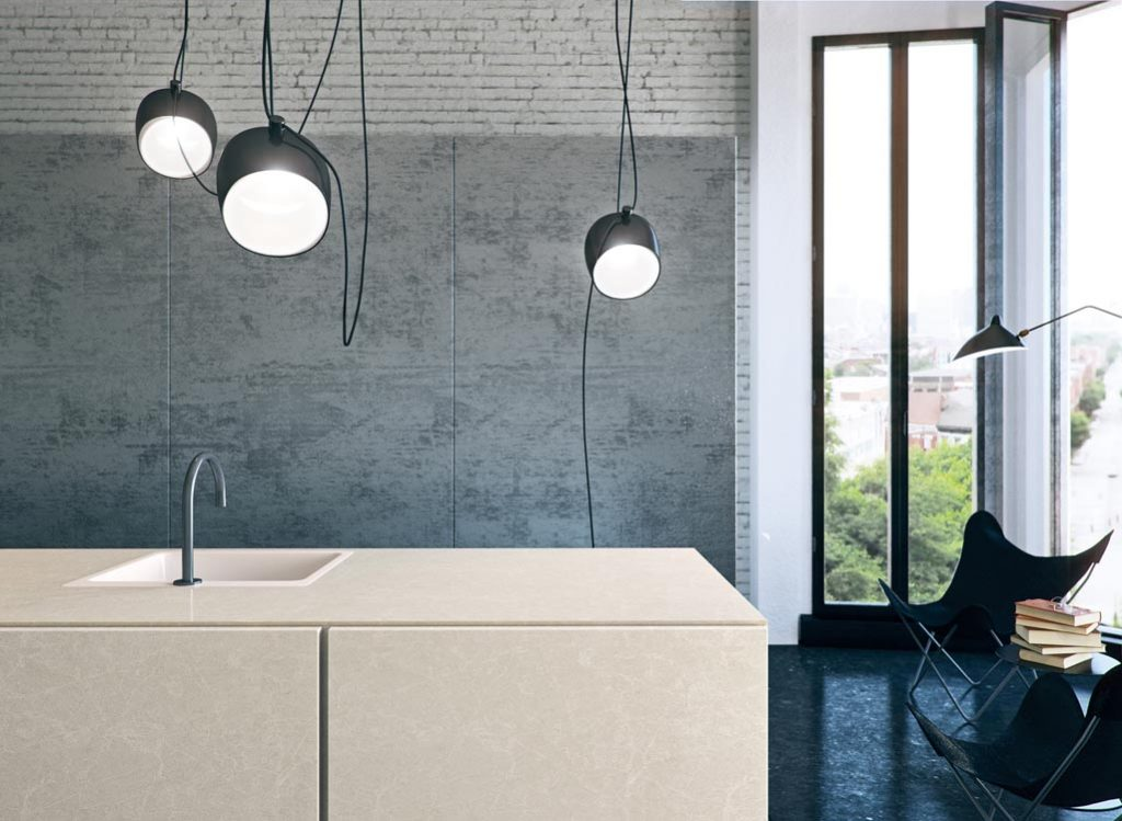 Cosmopolitan White Marble Like Quartz on a Kitchen Island