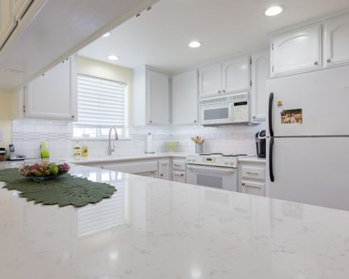 Marble Looking Quartz Counters Beauty And Function