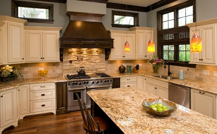 New Venetian Gold Granite Countertops in a Traditional Kitchen Setting