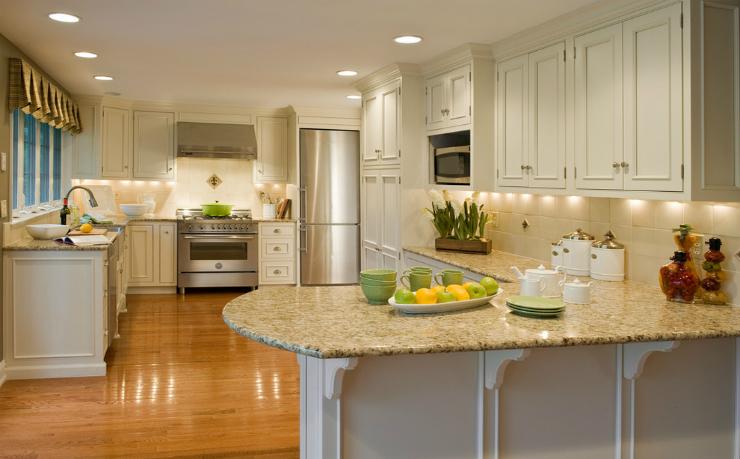 Santa Cecilia Granite Countertops in a Traditional Kitchen