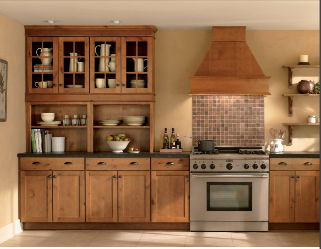 Concord Rustic Alder Harvest Custom Kitchen Cabinets by Mid Continent Cabinetry