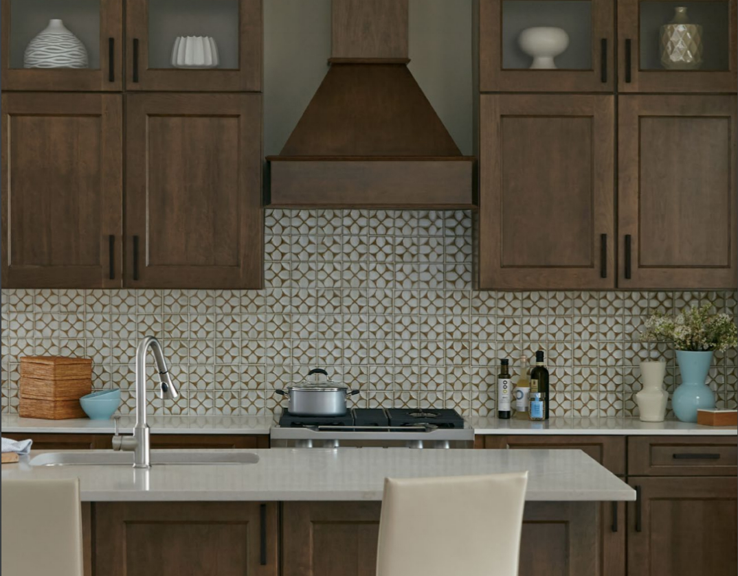 Newport Cherry Husk with Black Glaze Custom Kitchen Cabinets by Mid Continent Cabinetry