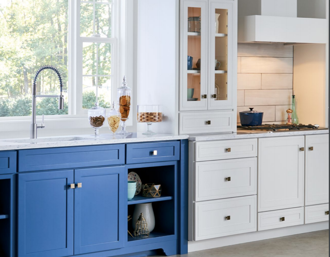Concord Painted Maple Indigo and Concord Painted Maple Divinity Custom Kitchen Cabinets