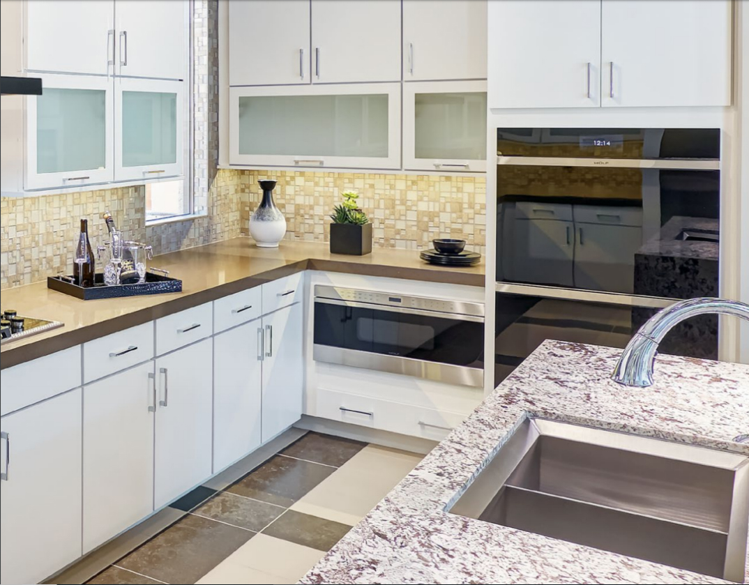 Painted Maple White Rohe Series Custom Kitchen Cabinets by Mid Continent Cabinetry