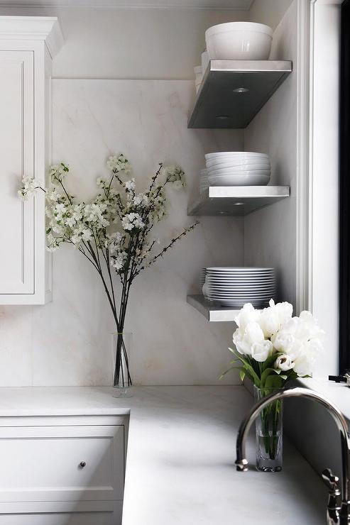 Gray Metal Custom Lit Shelves Design by Sage Design