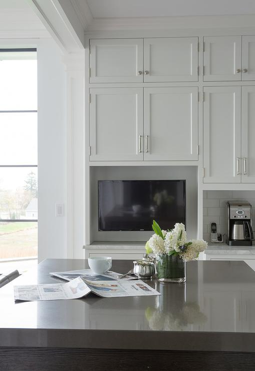 Custom White Kitchen Cabinets Shaker Style with Enclosed TV Niche
