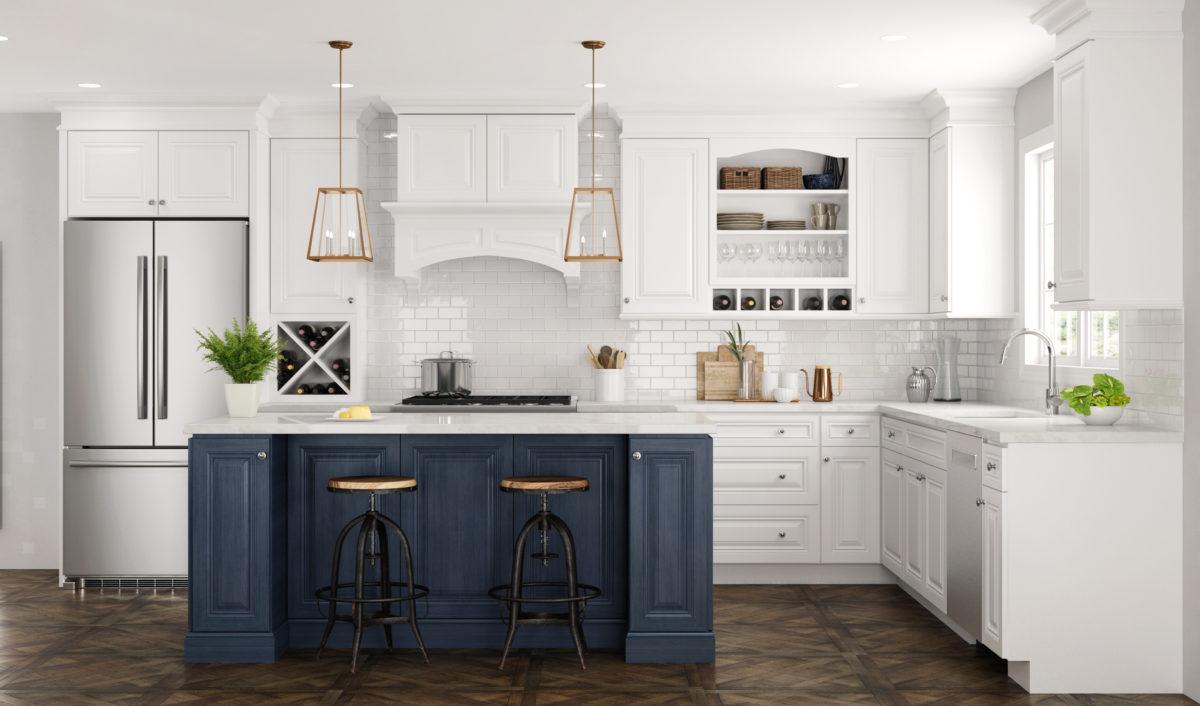Park Avenue Blue and White Stock Kitchen Cabinets Design by CNC