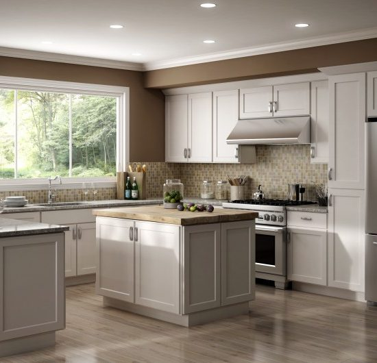 White Shaker Stock Kitchen Cabinets by CNC