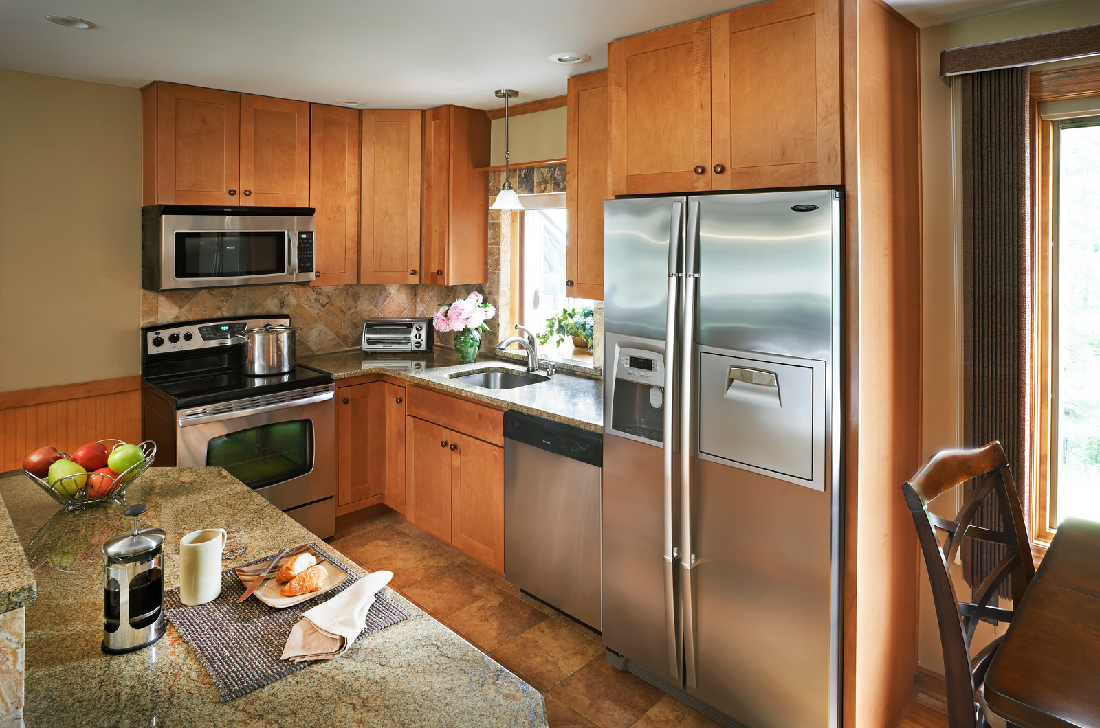Dartmouth Honey Stain Kitchen Cabinets by Wolf