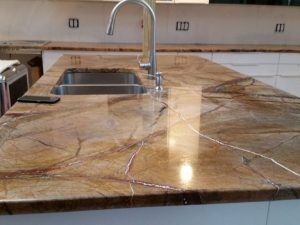 Rainforest Brown Granite Countertop Installation in Englewood, NJ
