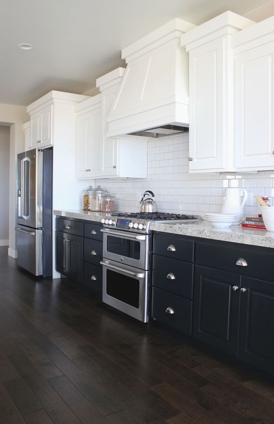 two tone kitchen with black kitchen cabinets