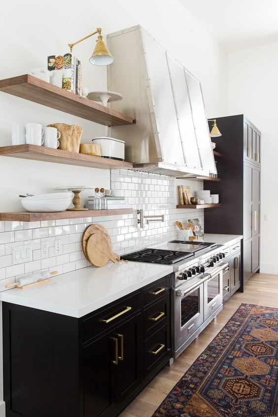 Black base cabinets and open shelving combination