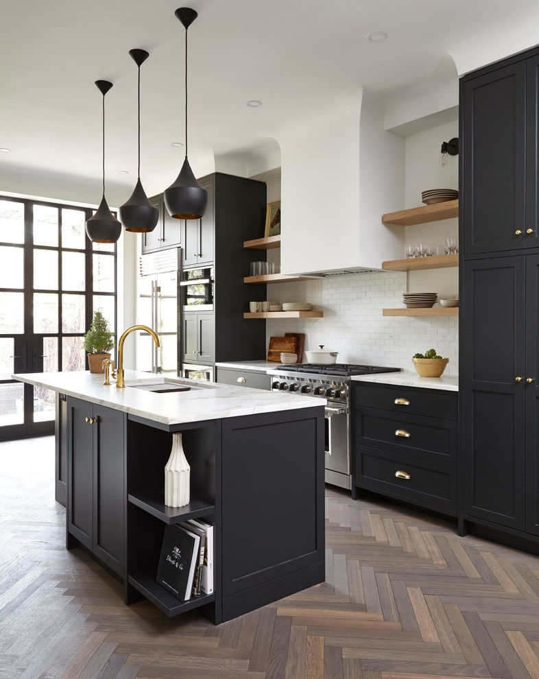 Tall black kitchen cabinets design by South Park Design Build
