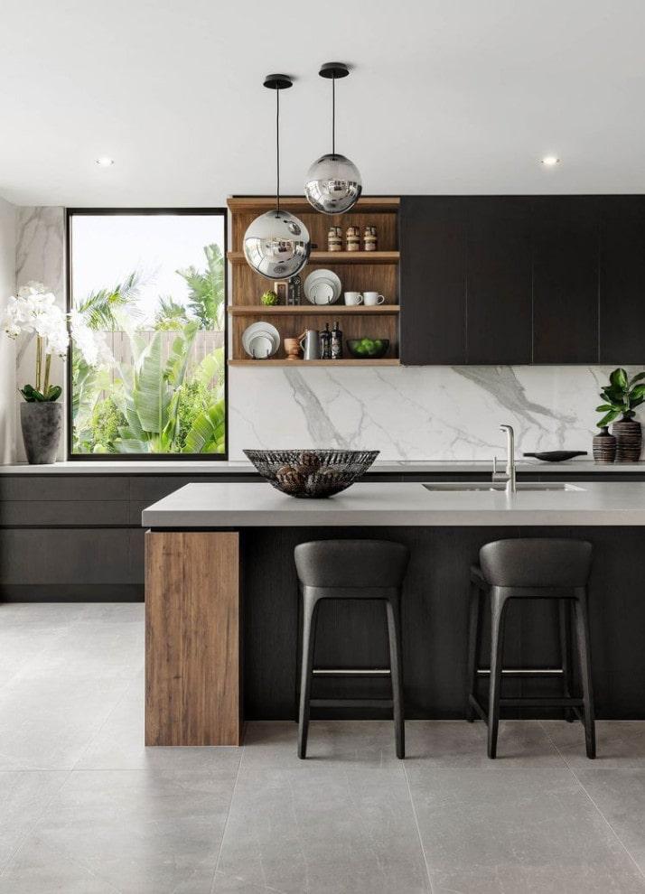 Minimalist black kitchen cabinets design by Everingham Design