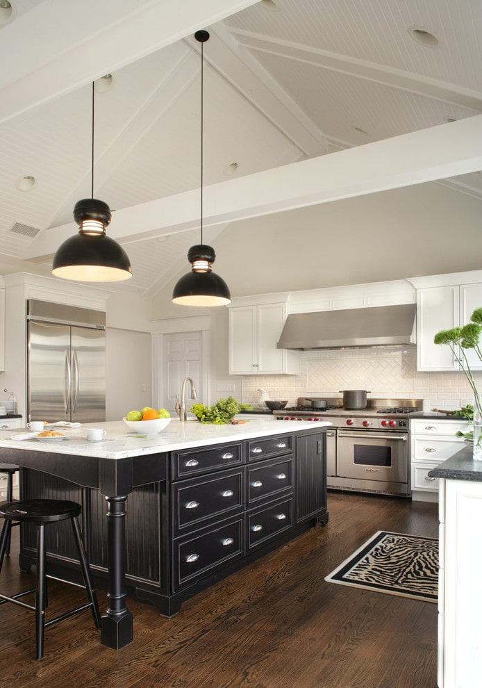 Black and white country kitchen design by Thyme & Place Design LLC