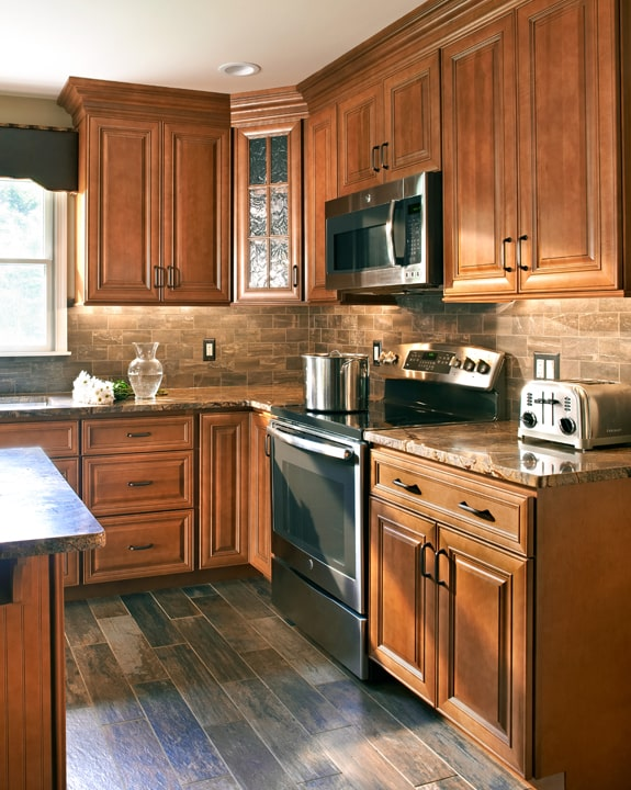Wolf Hudson Heritage Brown Stain Kitchen Cabinets
