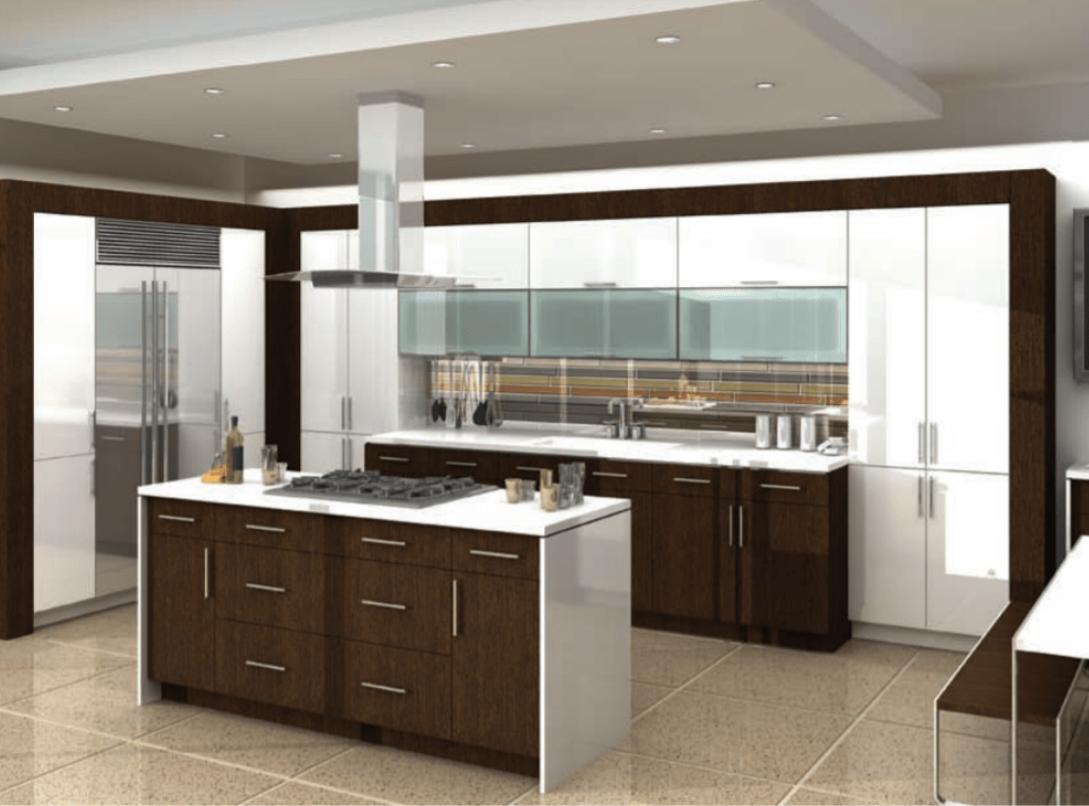 Neo White Gloss + Manhattan Wenge Natural Cabinet Style