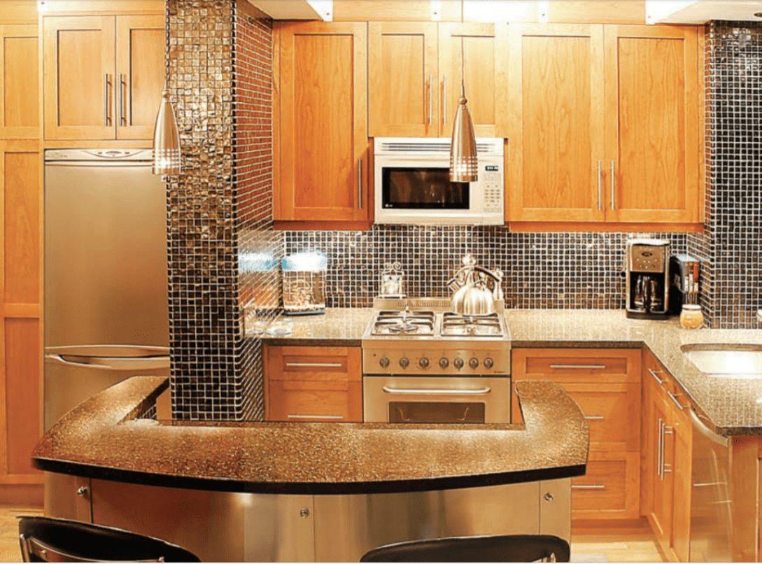 Shaker Cherry Harvest Gold Kitchen Design