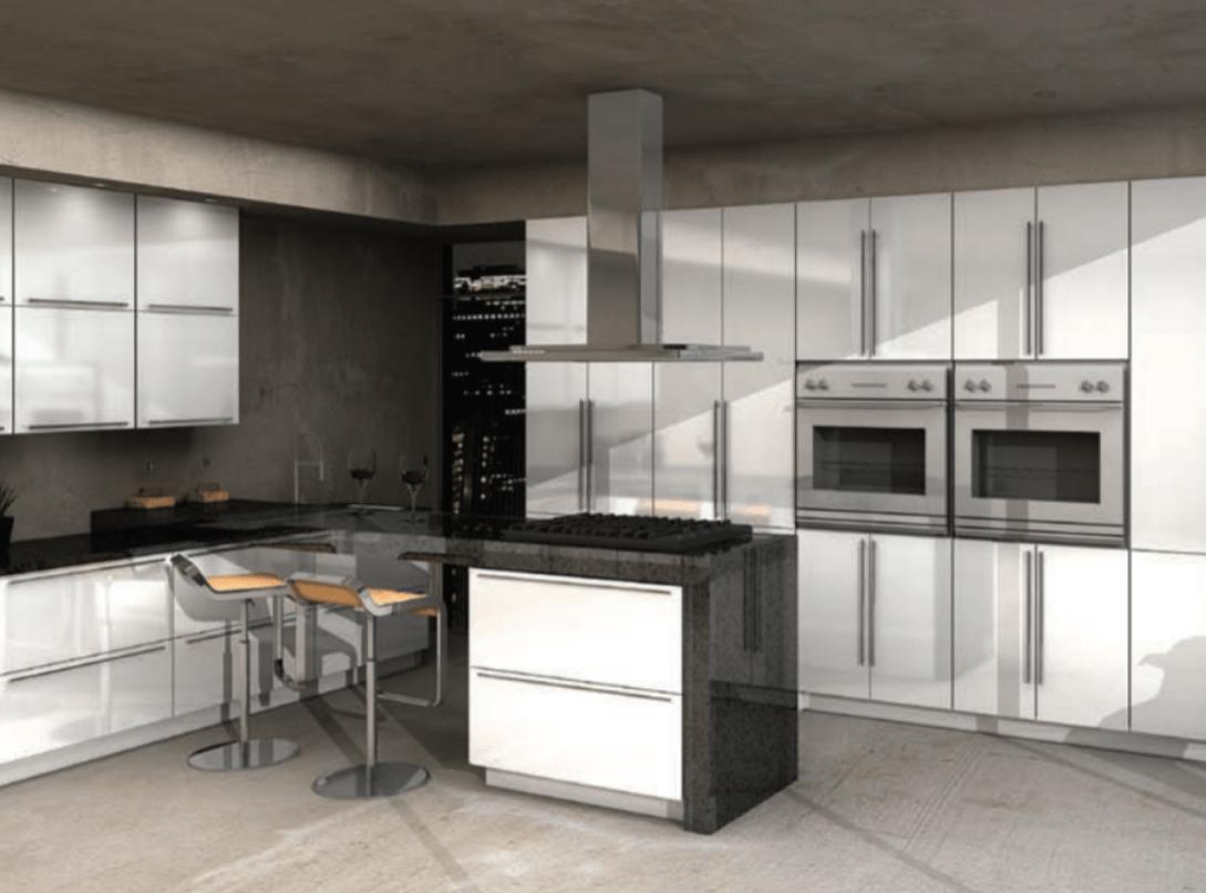 White Gloss Hanssem Cabinets Kitchen Design