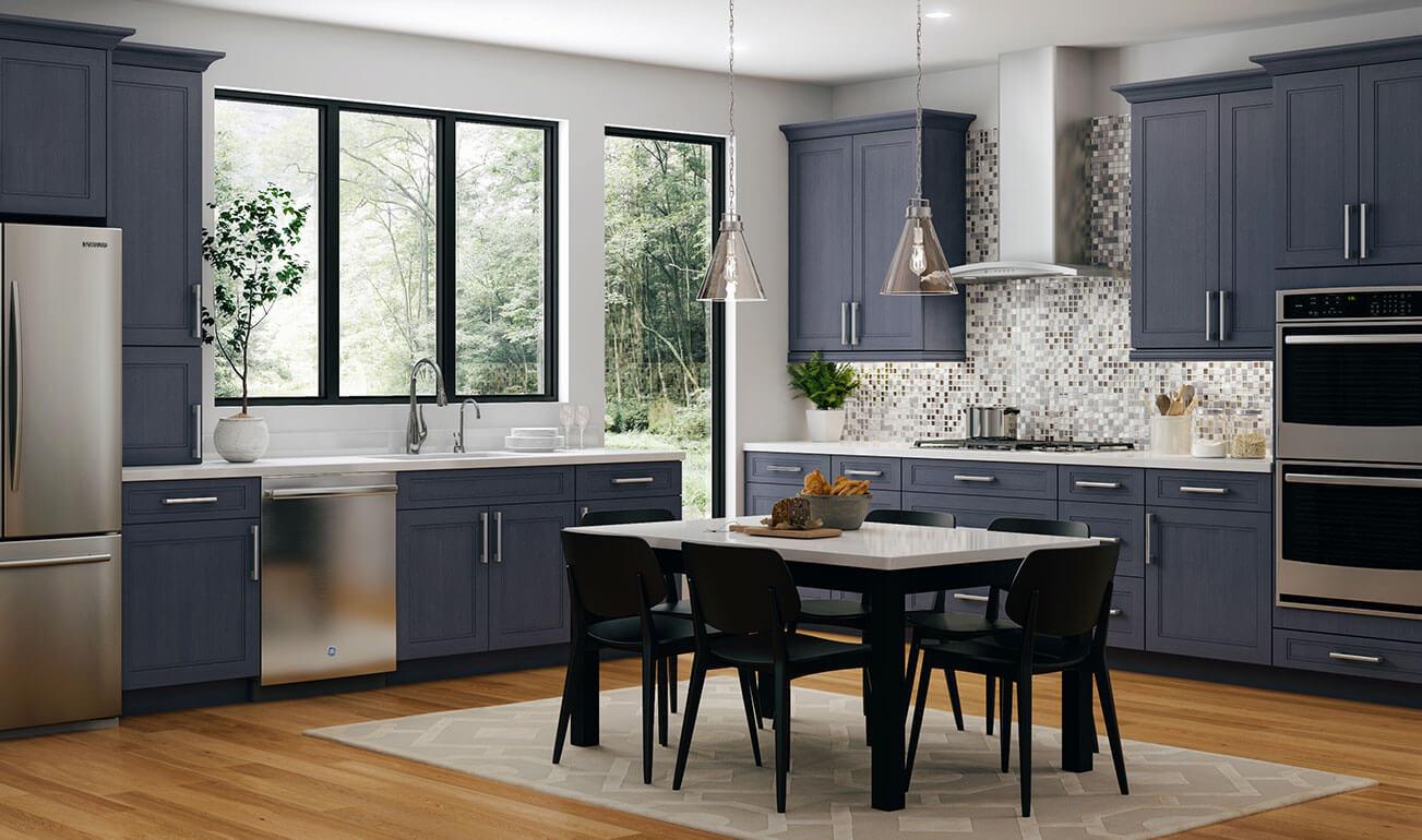 Cnc Concord Fashion Ocean Blue Kitchen Cabinets Premium