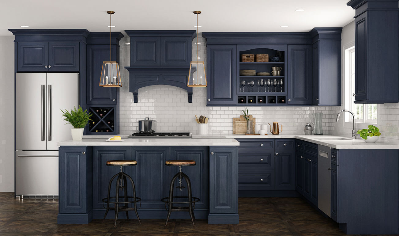 CNC Concord Park Ave Ocean Blue Kitchen Cabinets Low Price