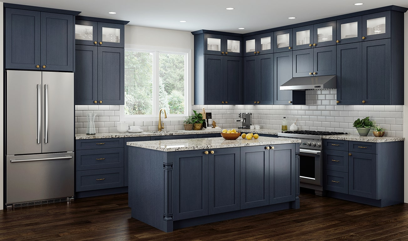 CNC Concord Elegant Ocean Blue Kitchen Cabinets Low-Cost