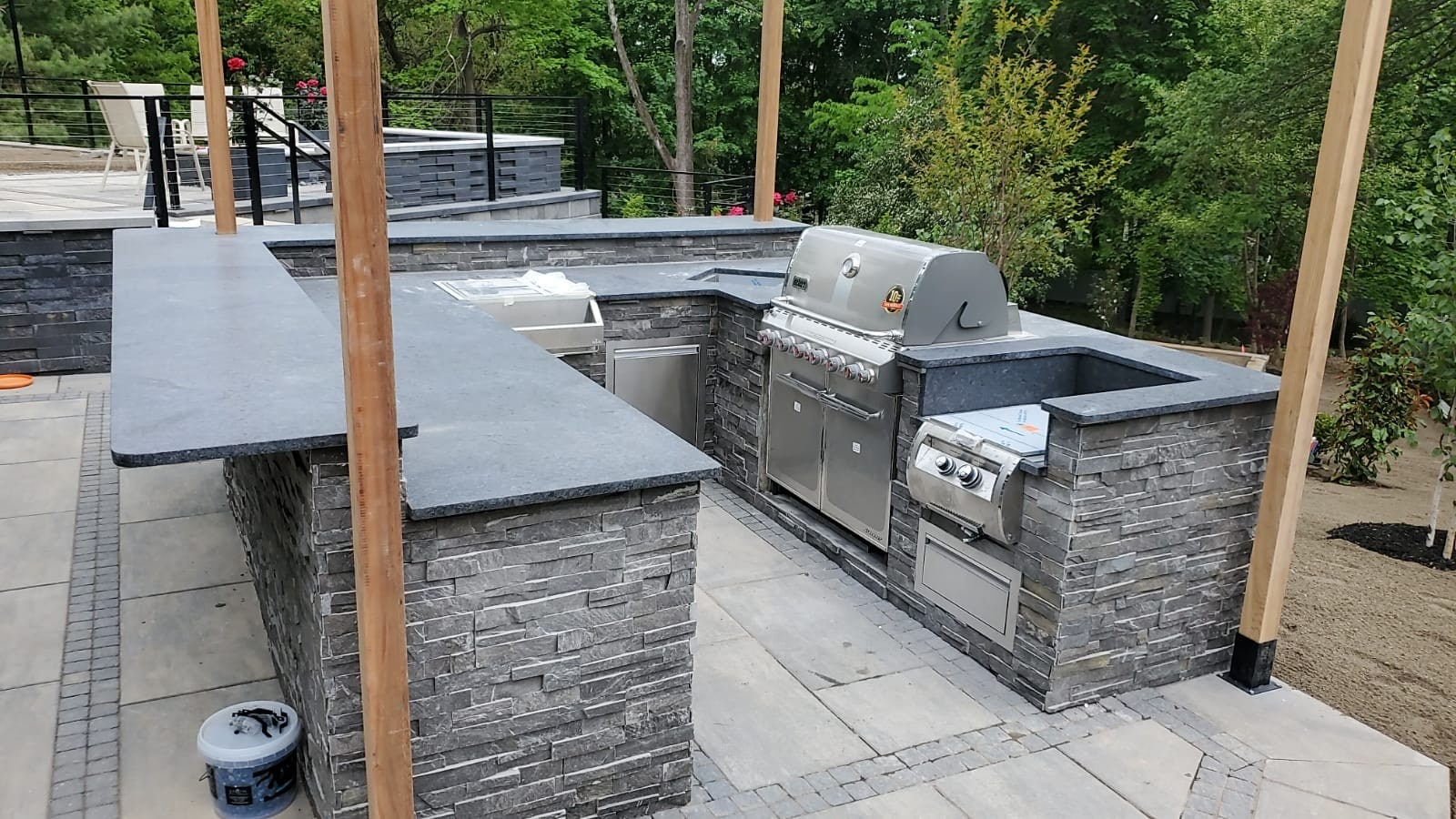 Steel Gray Leather Granite Outdoor Kitchen in Chatham, NJ