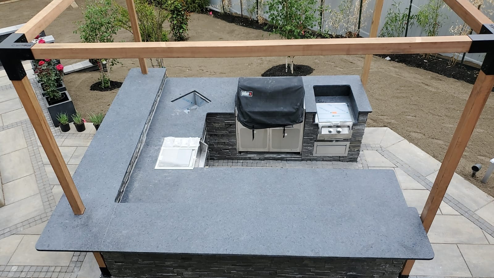 Steel Gray Leather Granite Outdoor Kitchen Remodel in Chatham, NJ