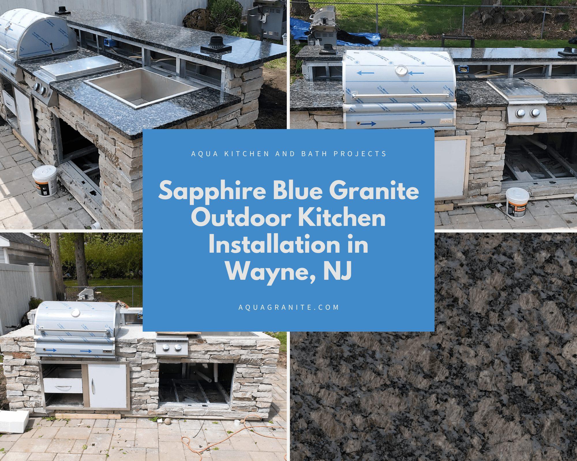 Sapphire Blue Granite Outdoor Kitchen Installation in Wayne, NJ