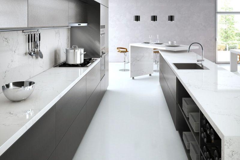 Empira White Caesarstone Quartz used on backsplash and countertops