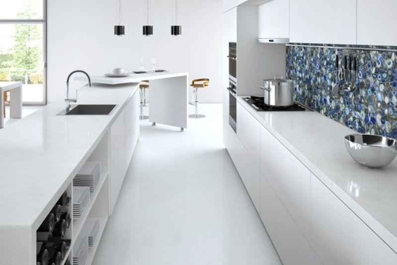 Blue Agata Quartz Backsplash with white quartz countertops