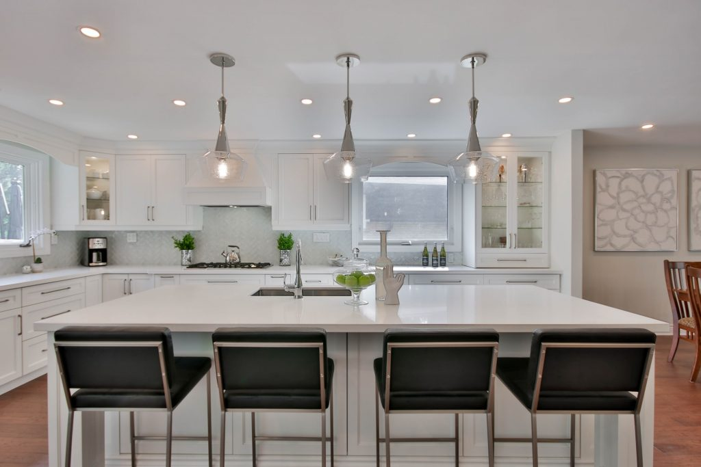 White Kitchen Cabinets with Quartz Countertops