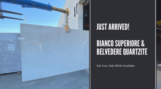 Bianco Superiore and Belvedere Quartzite Slabs Arrived to Our NJ Showroom
