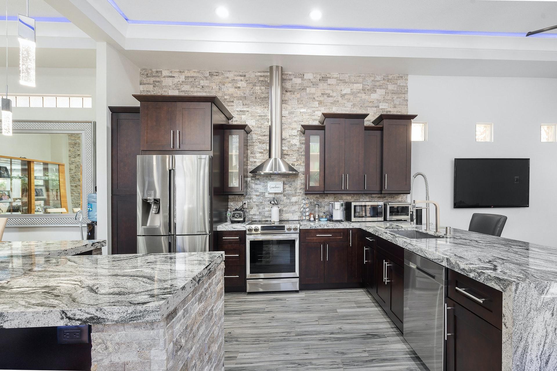 Marble waterfall live edge kitchen design
