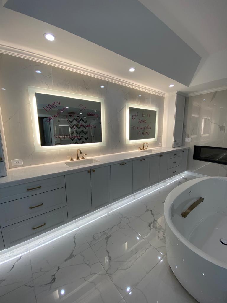 "Opal white 2""miter build-up vanitytop"