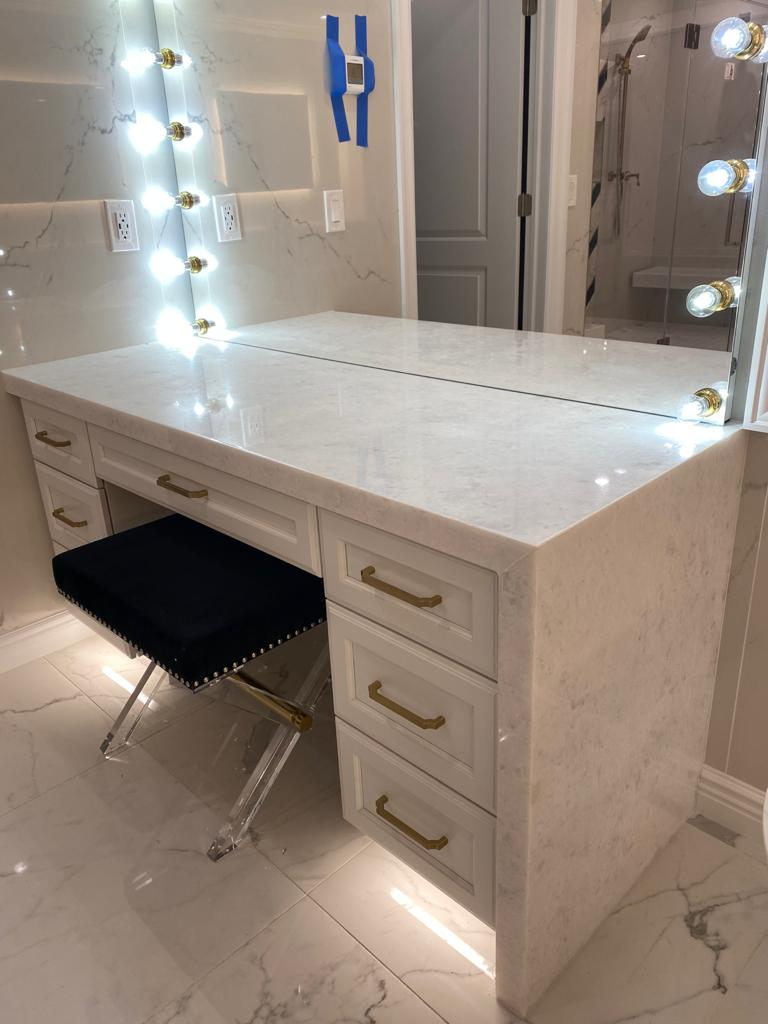 """pal white make up area with 2""""miter and waterfall"""