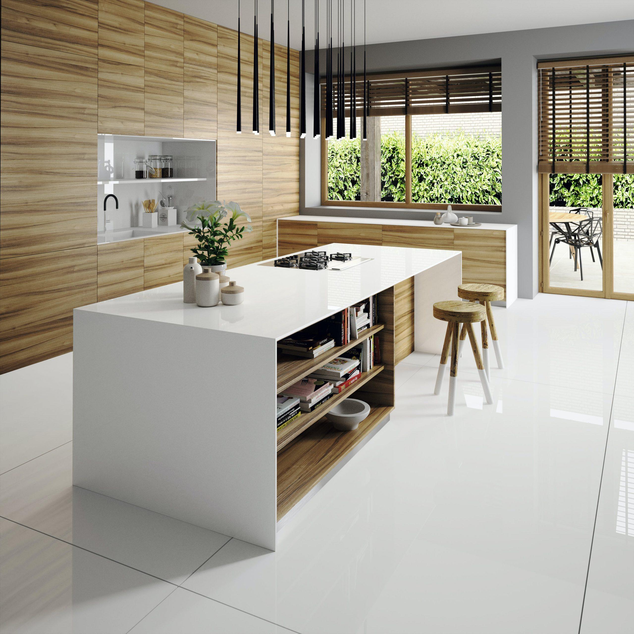 white quartz waterfall kitchen island