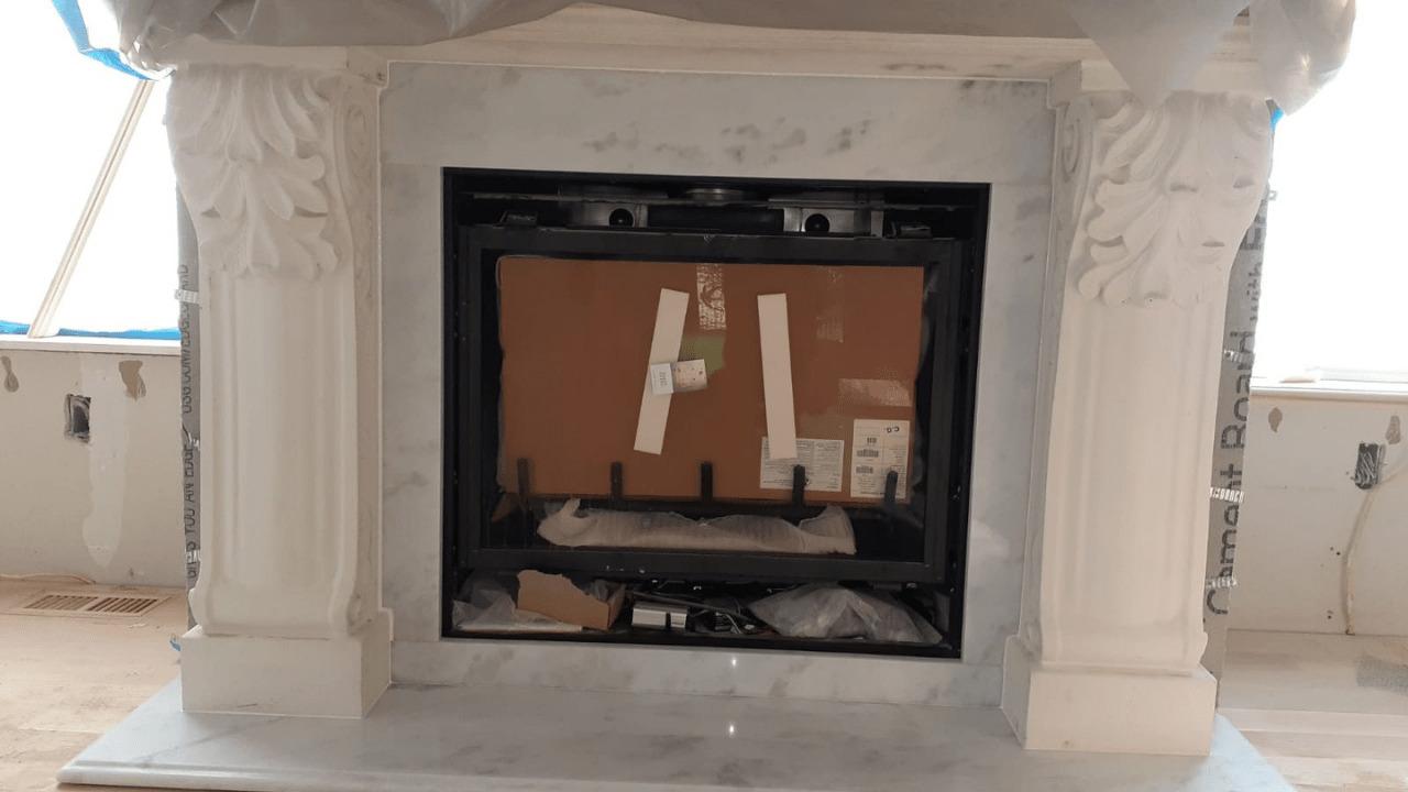 Calacatta Diamond Fireplace Installation in Purchase, NY