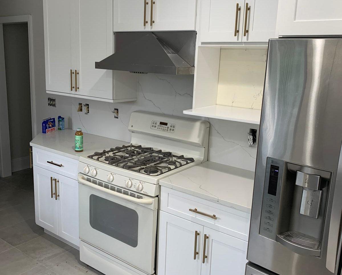 White kitchen renovation project